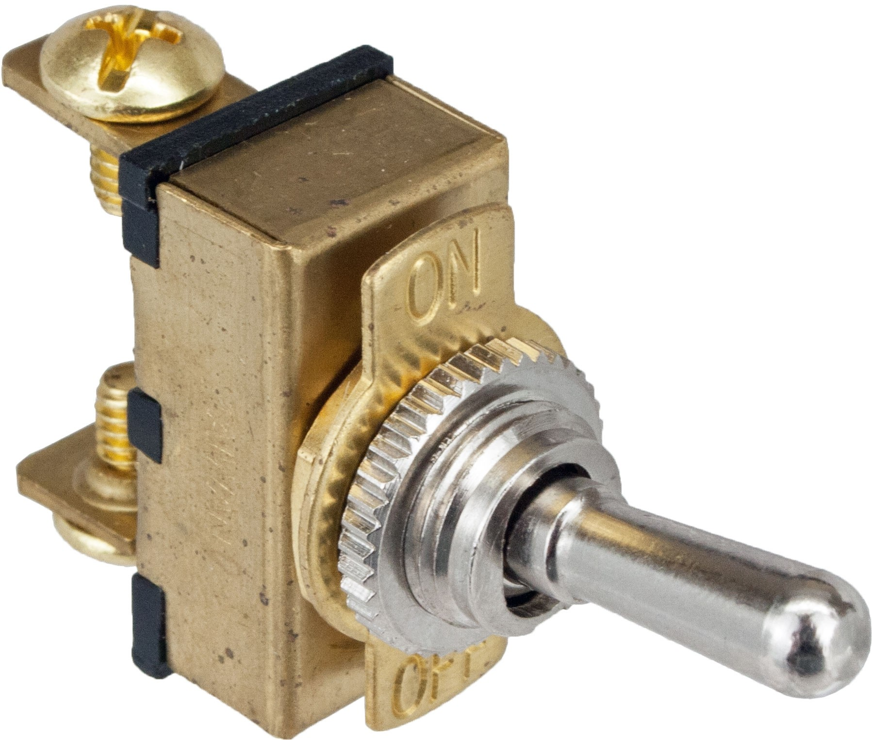 2 Terminal Toggle Switch ON/OFF SPST Brass Casing   765075   ElecDirect