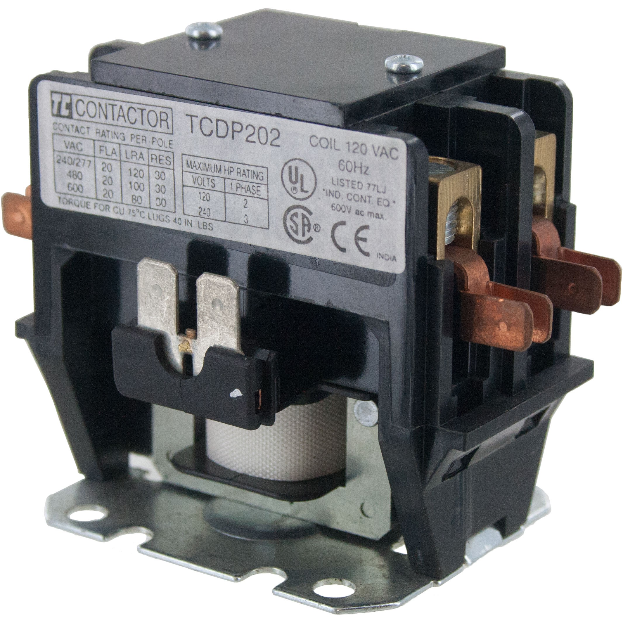 2 Pole Contactor 20 Amp 120vac Coil Elecdirect 120 Volt Wiring