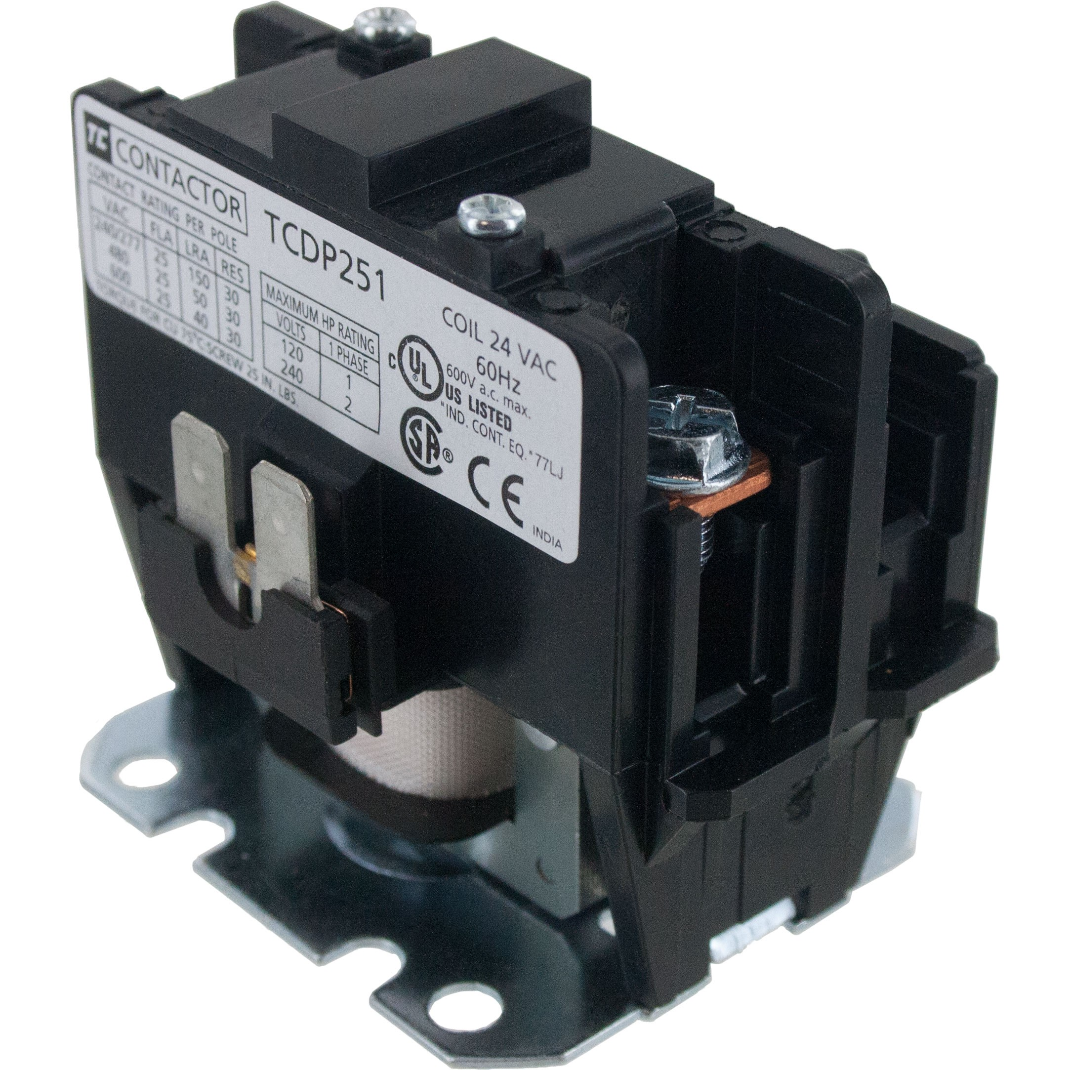 1 Pole Contactor 25 Amp 24VAC Coil | ElecDirect