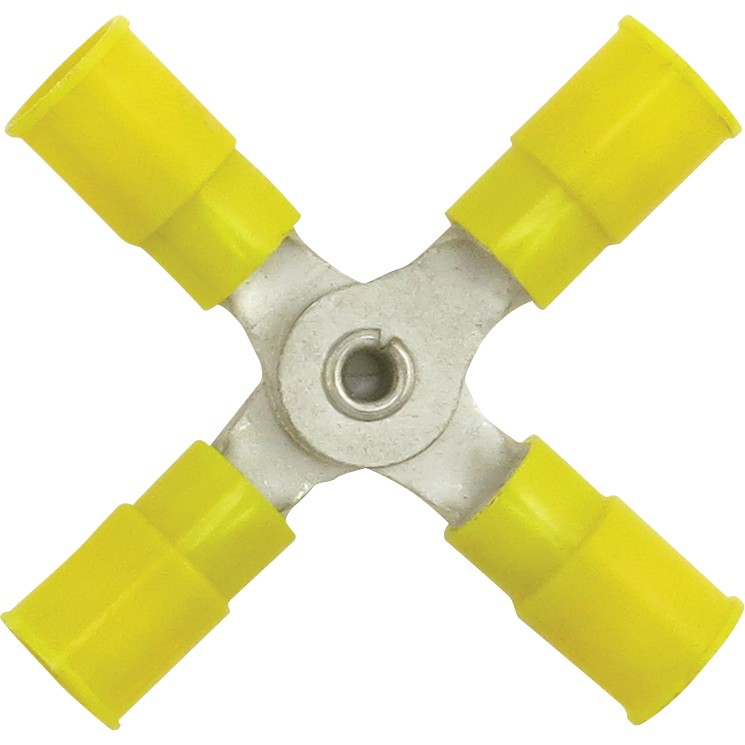 Yellow 4-Way Splice Connector for 12-10 Awg Wire
