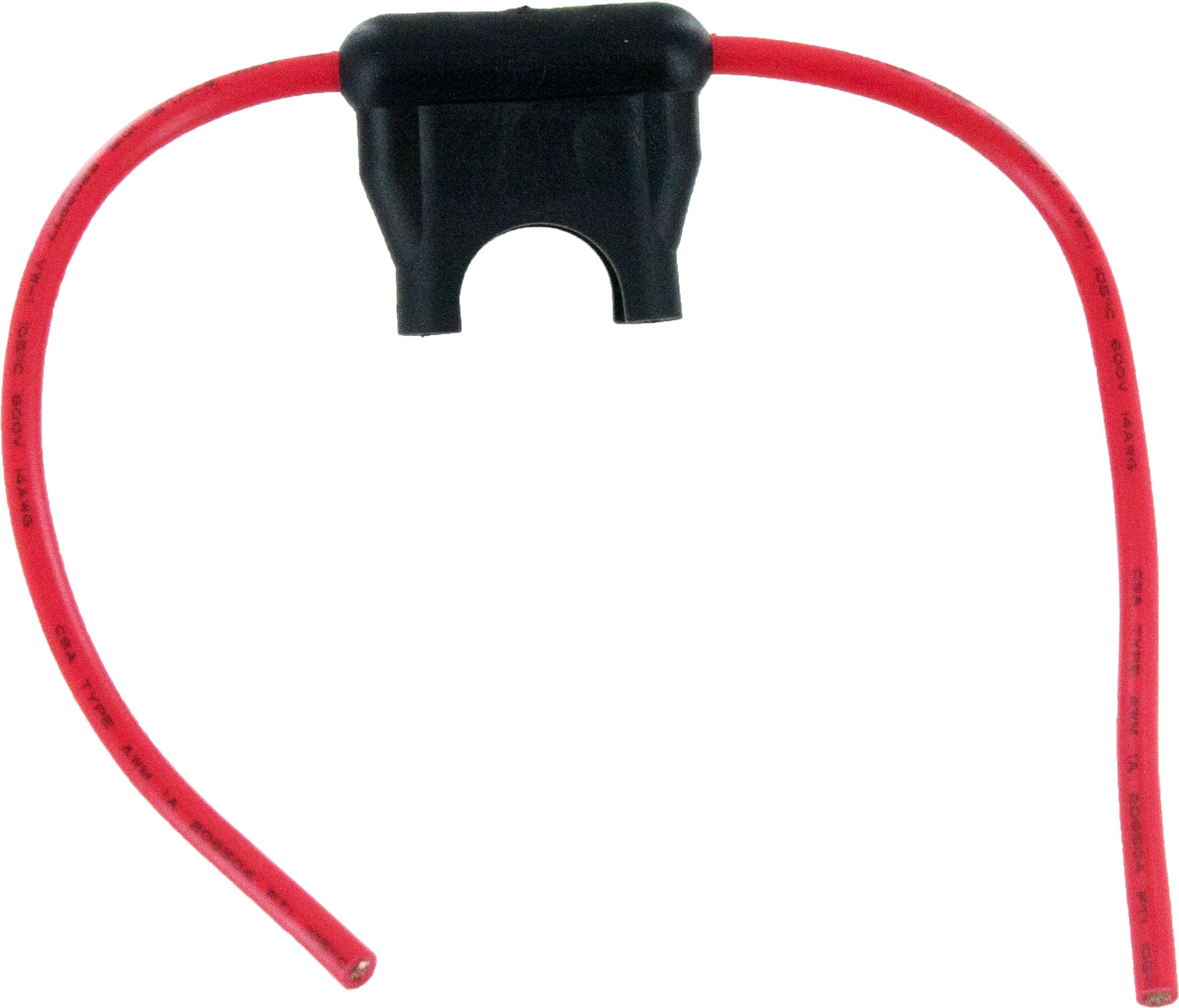 "In-Line Standard Blade Fuse Holder 14 Awg 4.5"" Leads Red 25 Pack"