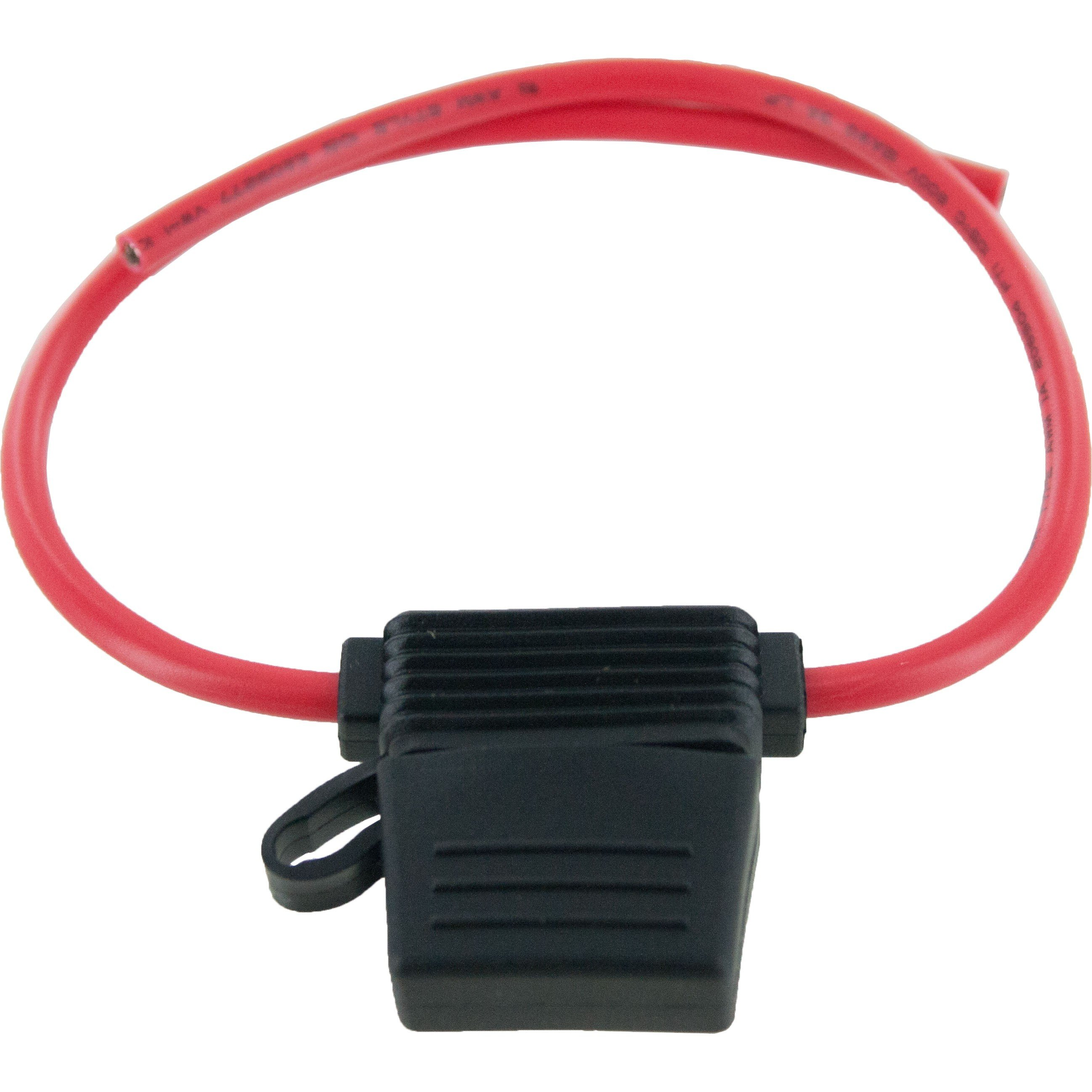 """In-Line Standard Blade Fuse Holder 12 Awg 6"""" Leads With Cover 25 Pack"""
