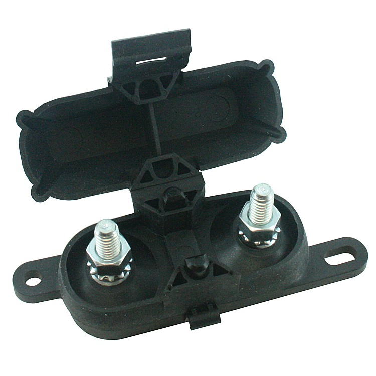 FUSE HOLDER FOR HIGH AMP SIZE BOLT ON FUSES, BLACK ATTACHED COVER