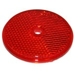 "RED ROUND, 2-3/16"", CENTER HOLE, PLASTIC BACK"