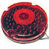 """7"""" DIAMETER ROUND, BUS LAMP, RED, STOP/TURN/TAIL, 60-DIODES, DOUBLE CONTACT"""