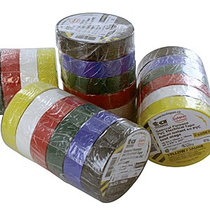 ELECTRICAL TAPE ASSORTMENT, 6 COLORS (BLACK, BLUE, GREEN, RED, WHITE, YELLOW) 1 EACH