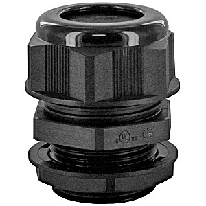 """DOME CAP CABLE GLAND M32  .51-.79""""  BLACK COMPLETE WITH O-RING & LOCKNUT"""
