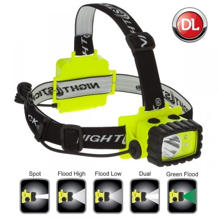 INTRINSICALLY SAFE LED HEADLAMP 190 DUAL-LIGHT LUMENS, GREEN FLOOD LIGHT