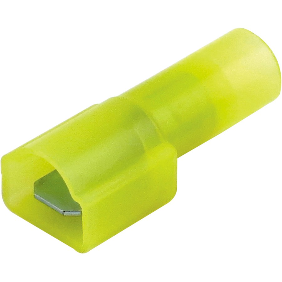 "Bulk Yellow Nylon Fully Insulated Male Disconnect Crimp Terminal 1/4"" (.250) tab"
