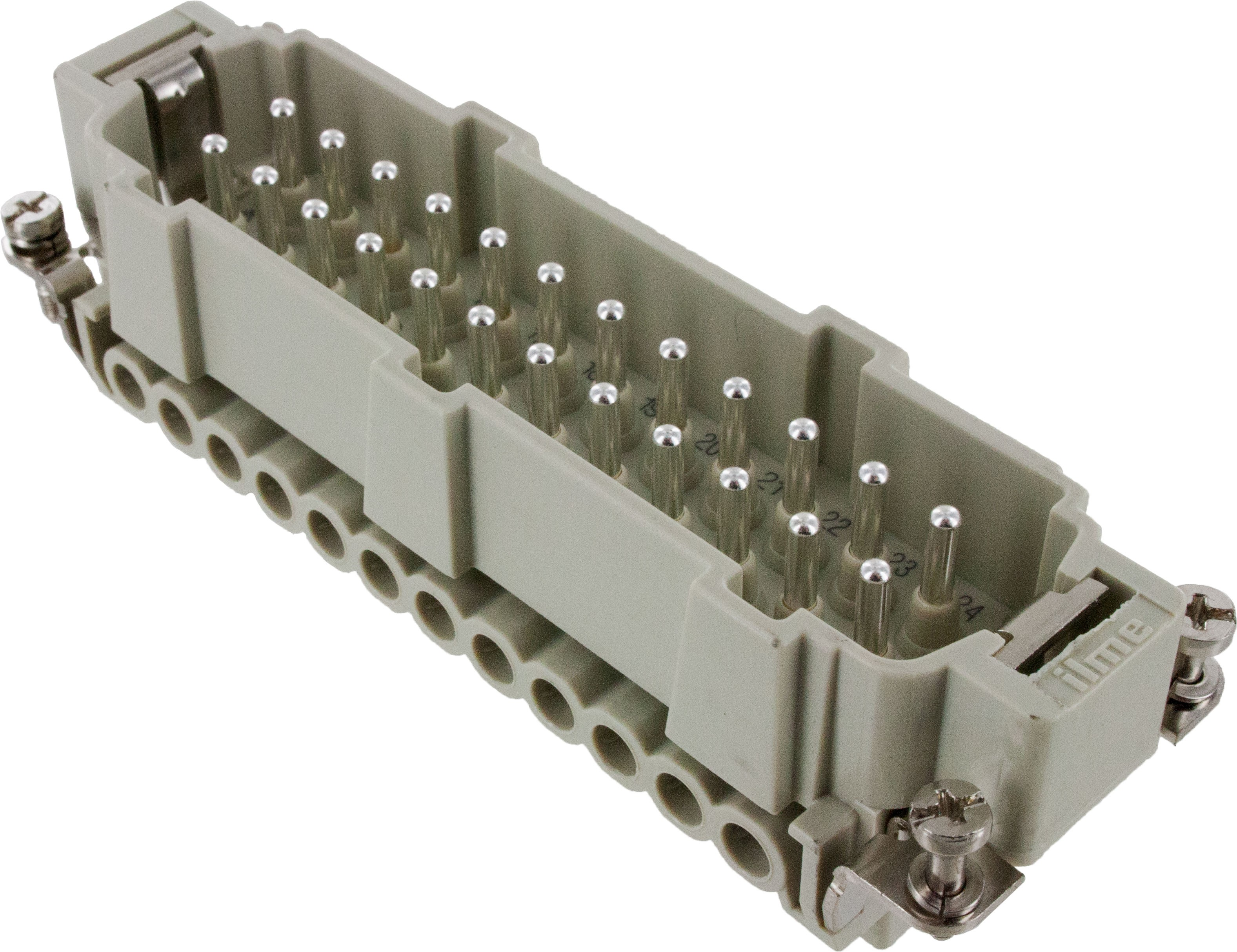 24 Pole Rectangular Connector Male Insert 16 Amp CNEF24T Angle