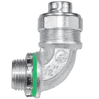 "3/8"" 90 Degree Liquid Tight Conduit Fittings Insulated Throat"