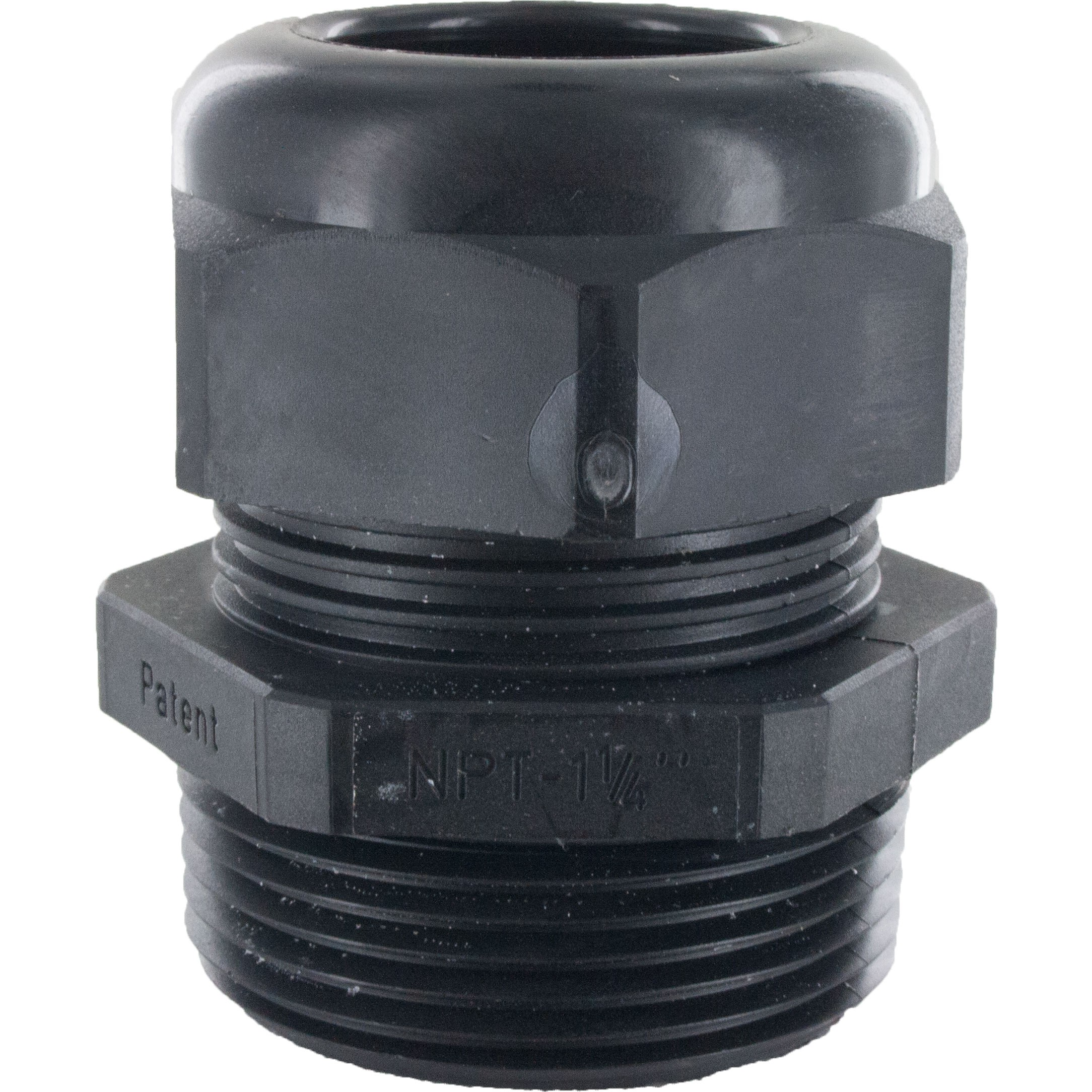 "Nylon Dome Cap Cable Gland 1-1/4"" NPT .70-.98"" Black"