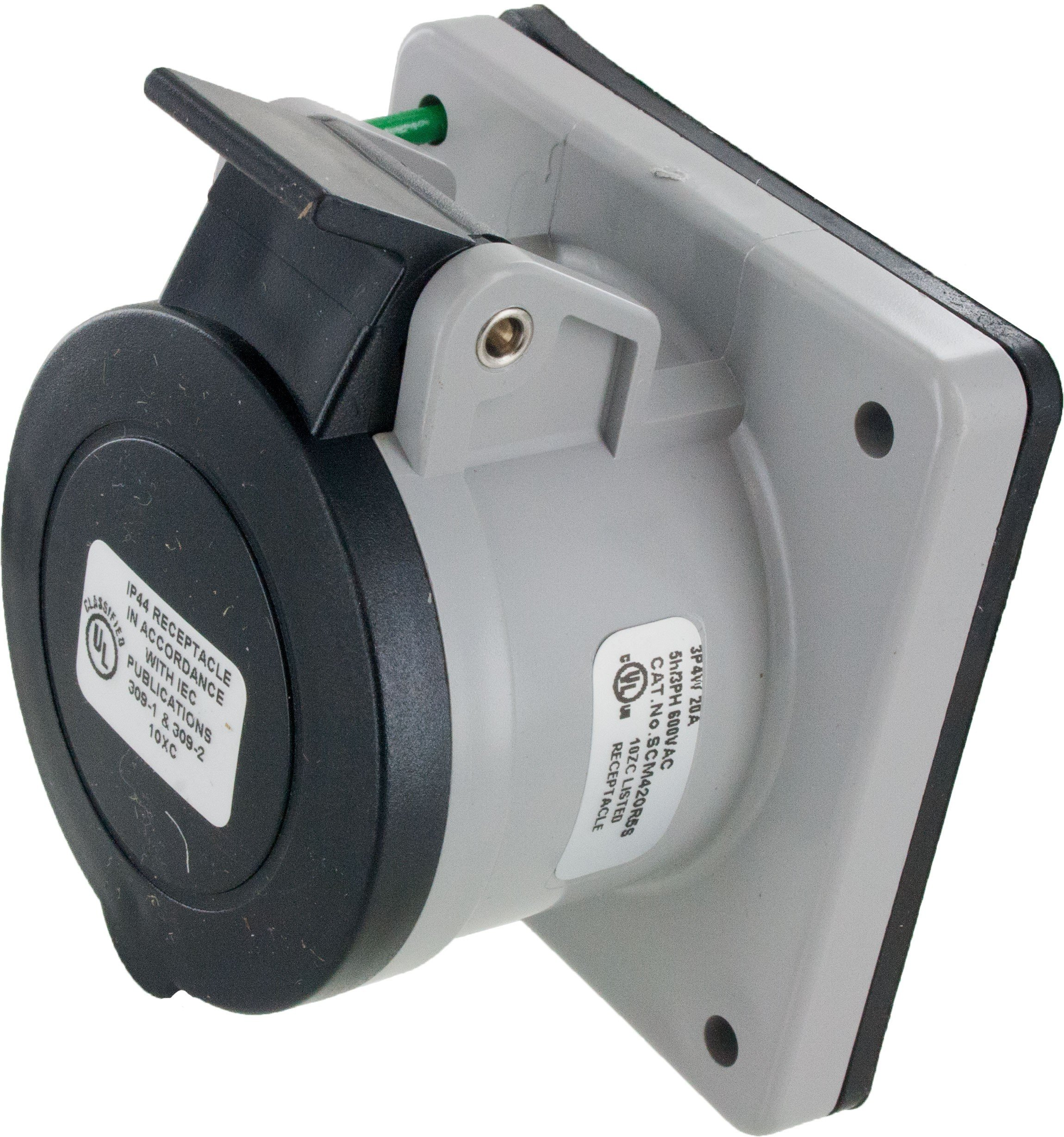 420R5S Pin And Sleeve Receptacle 20 Amp 3 Pole 4 Wire