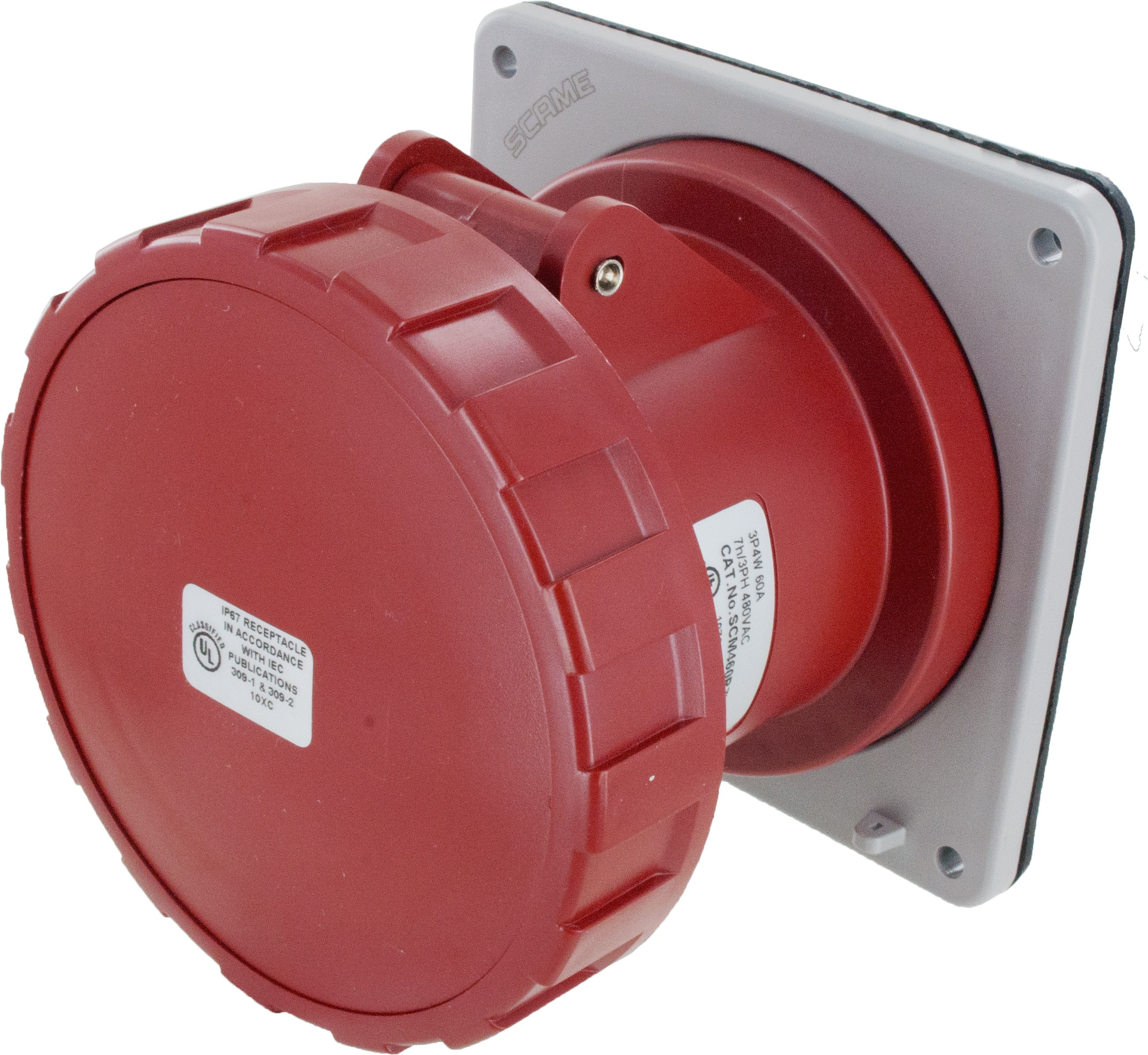 460R7W Pin And Sleeve Receptacle 60 Amp 3 Pole 4 Wire