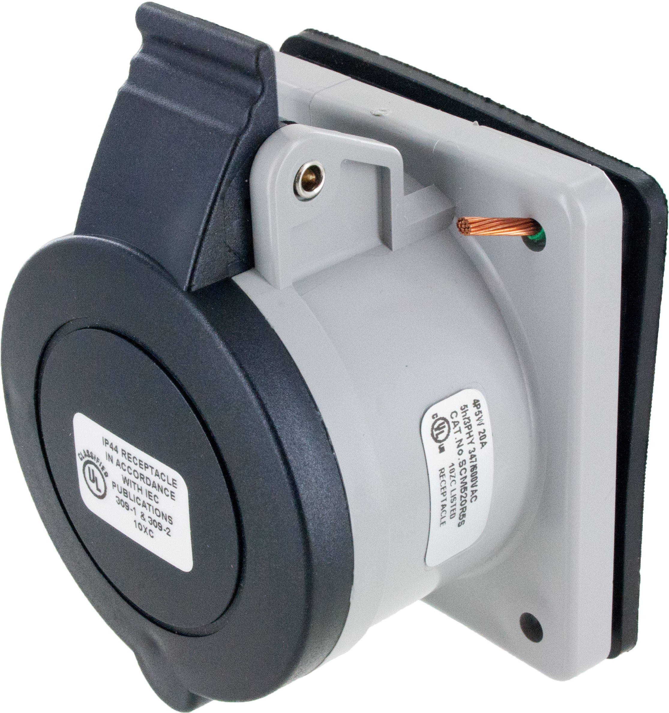 520R5S Pin And Sleeve Receptacle 20 Amp 4 Pole 5 Wire