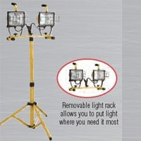 DOUBLE HEAD, CONVERTIBLE WORK LIGHT TOWER, 1000W, 6FT TRIPOD, 18/3, SJTW, 6FT CORD