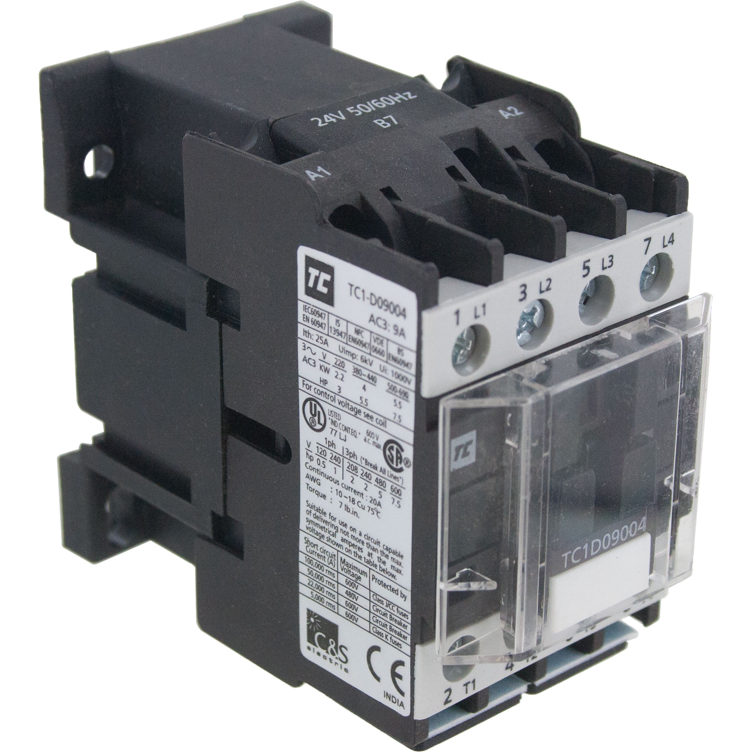 4 Pole Contactor 9 Amp 4 N/O 220 Volt AC Coil Angle