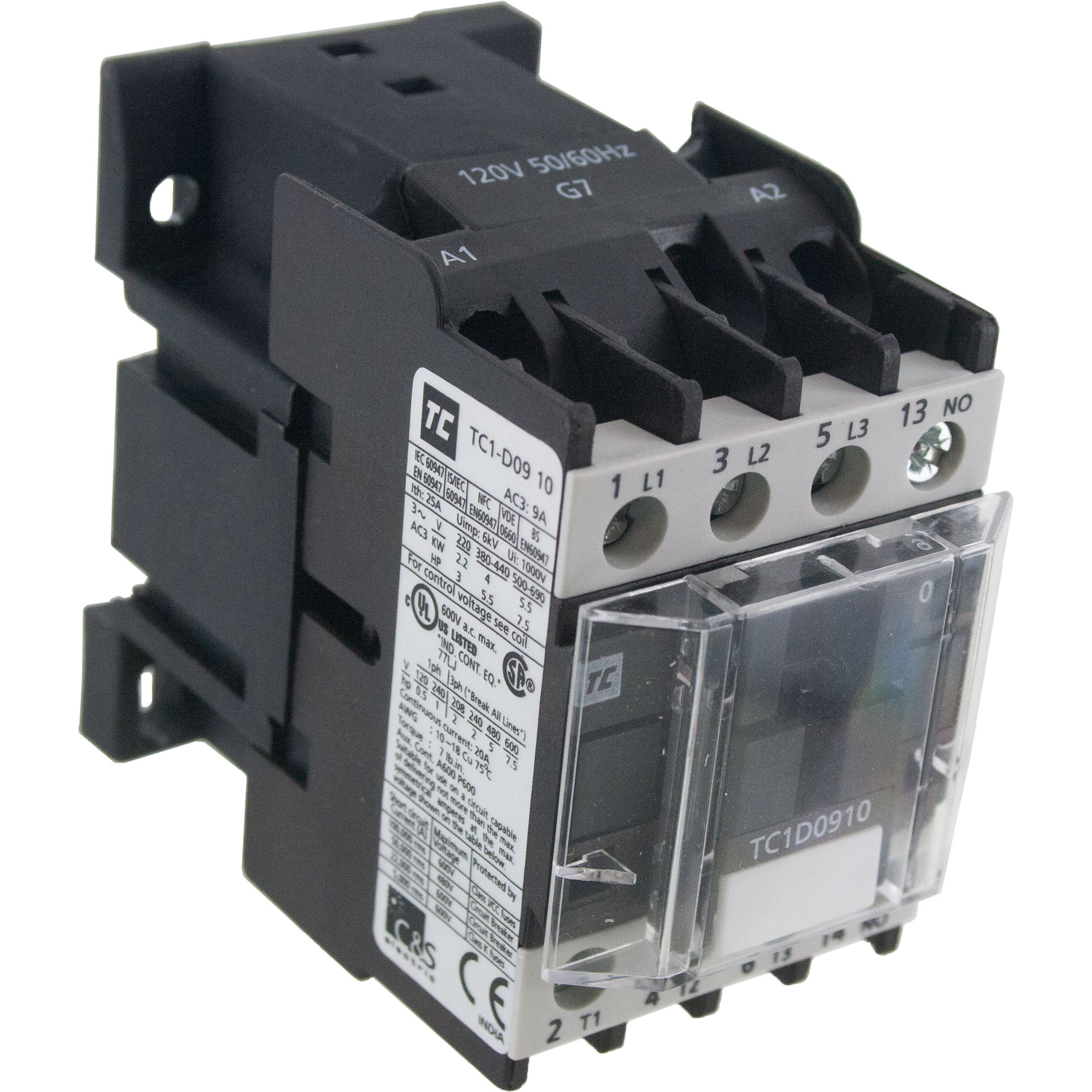 3 Pole Contactor 9 Amp 600 Vac Coil Angle