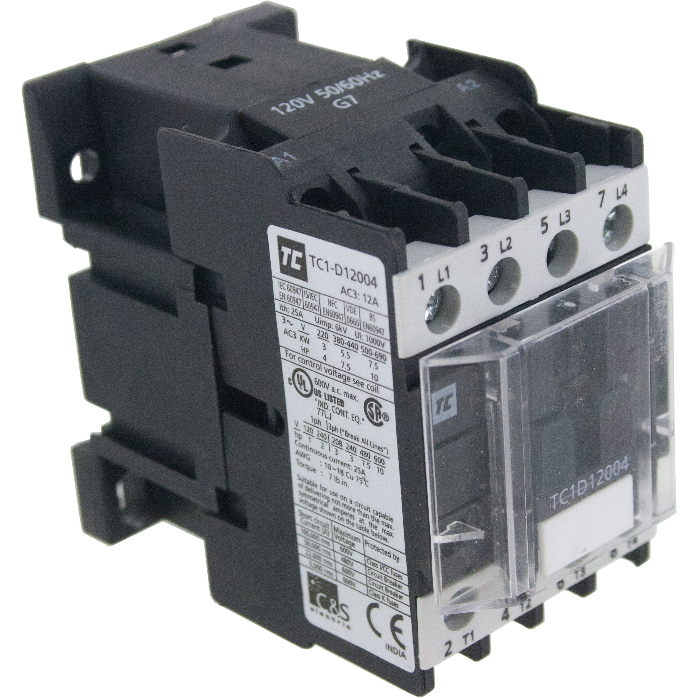 4 Pole Contactor 12 Amp 2 N/O - 2 N/C 110 Volt AC Coil Angle