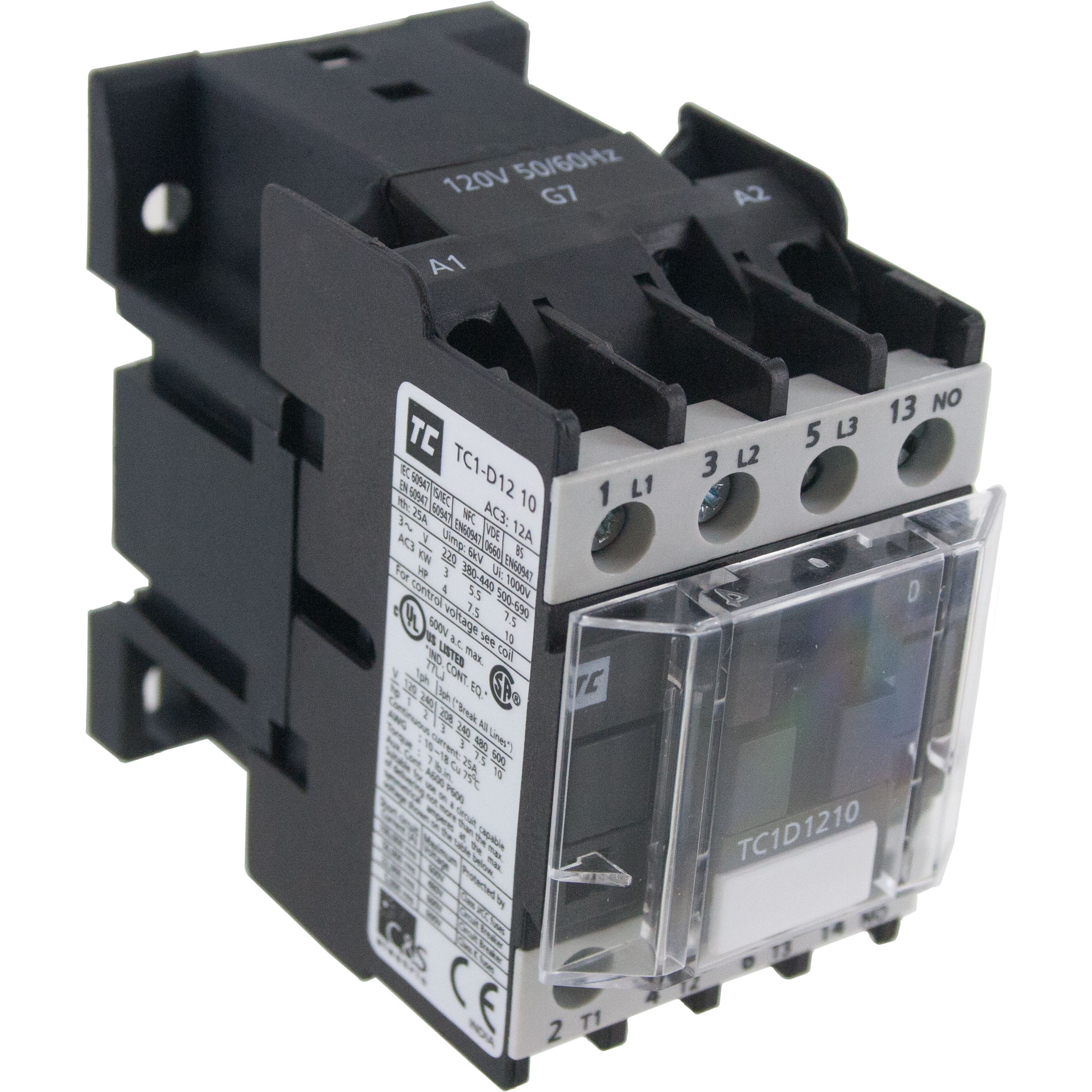 3 Pole Contactor 12 Amp 1 N/O 220 Vac Coil