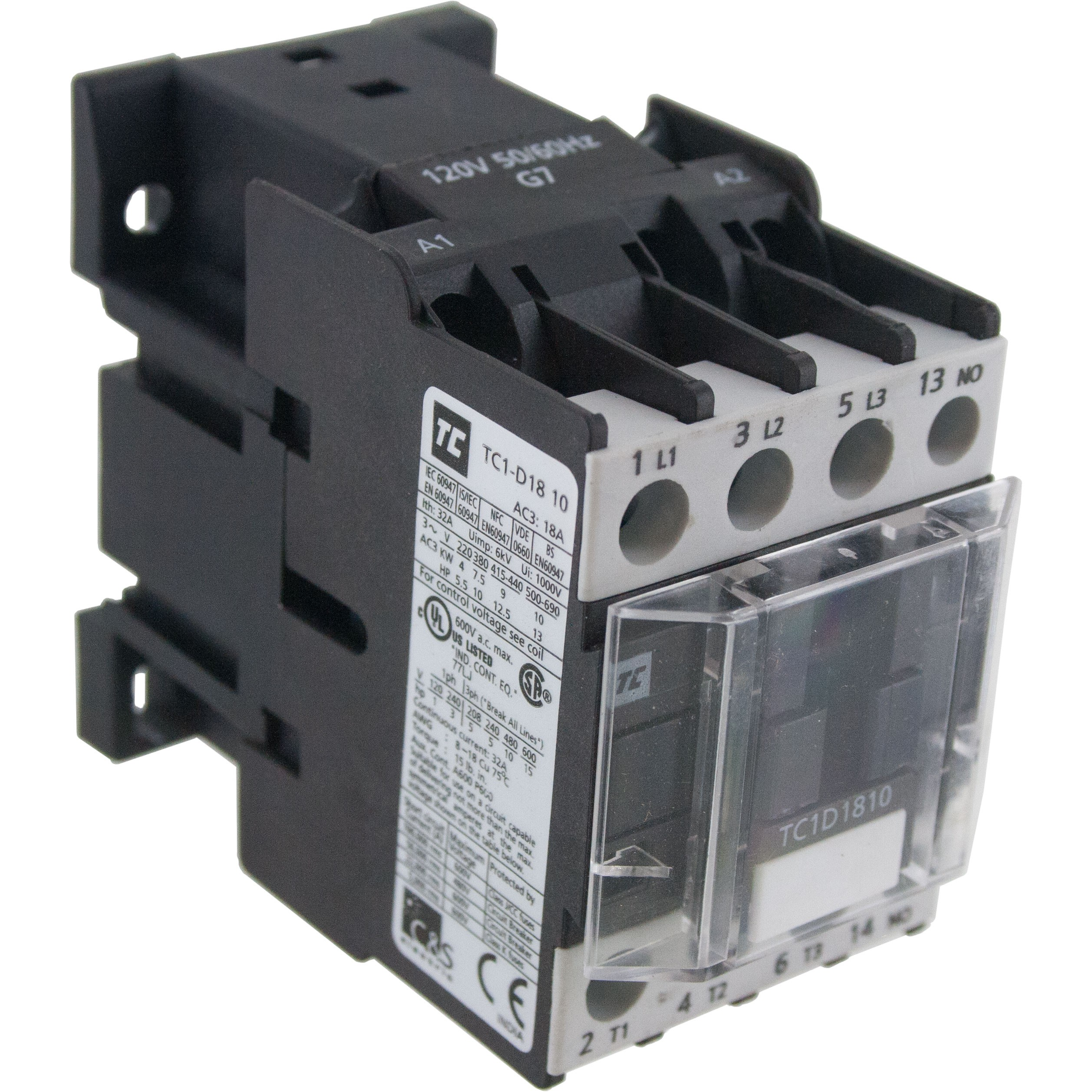 3 Pole Contactor 18 Amp 1 N/O 415 Vac Coil Angle