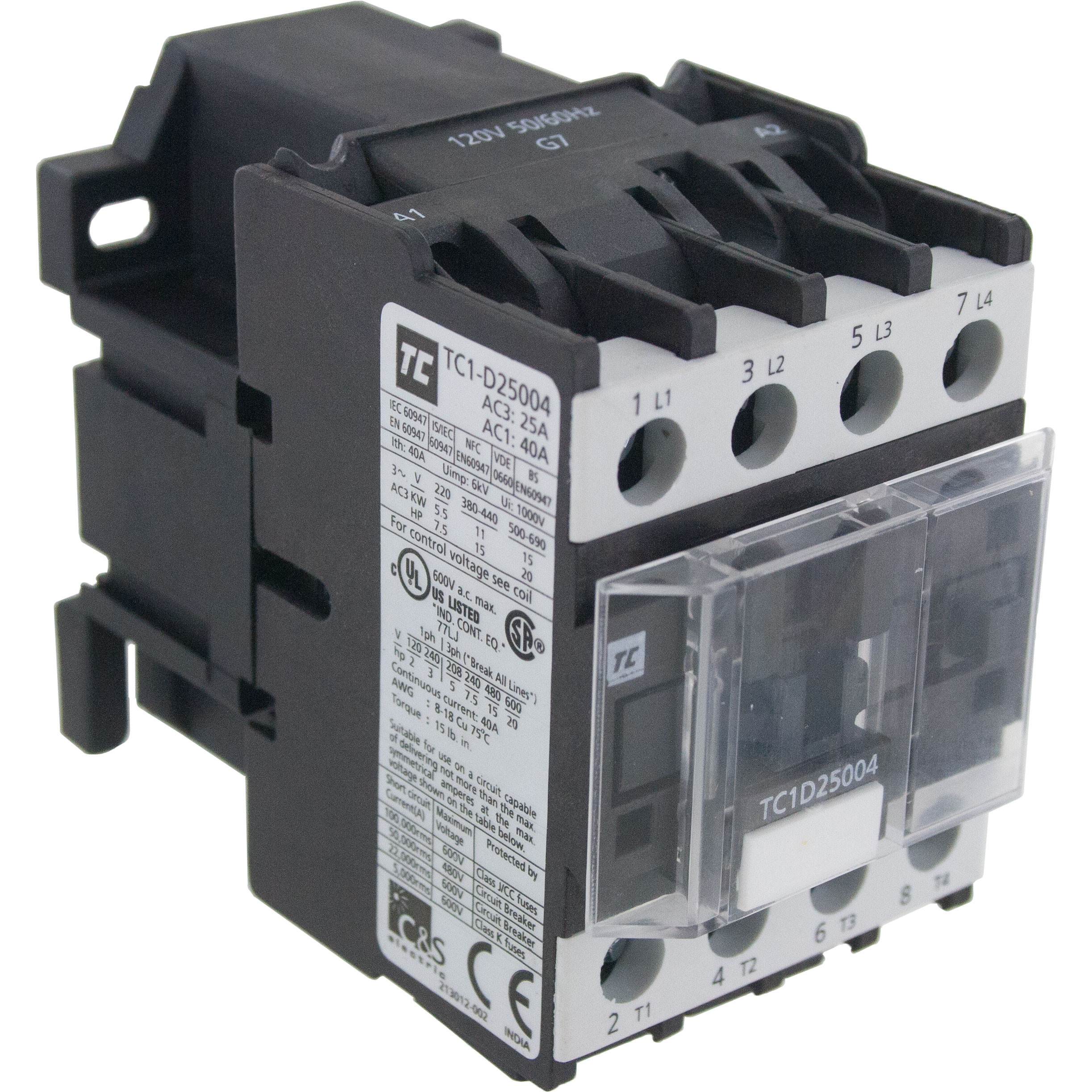 4 Pole Contactor 25 Amp 4 N/O 220 Volt AC Coil Angle