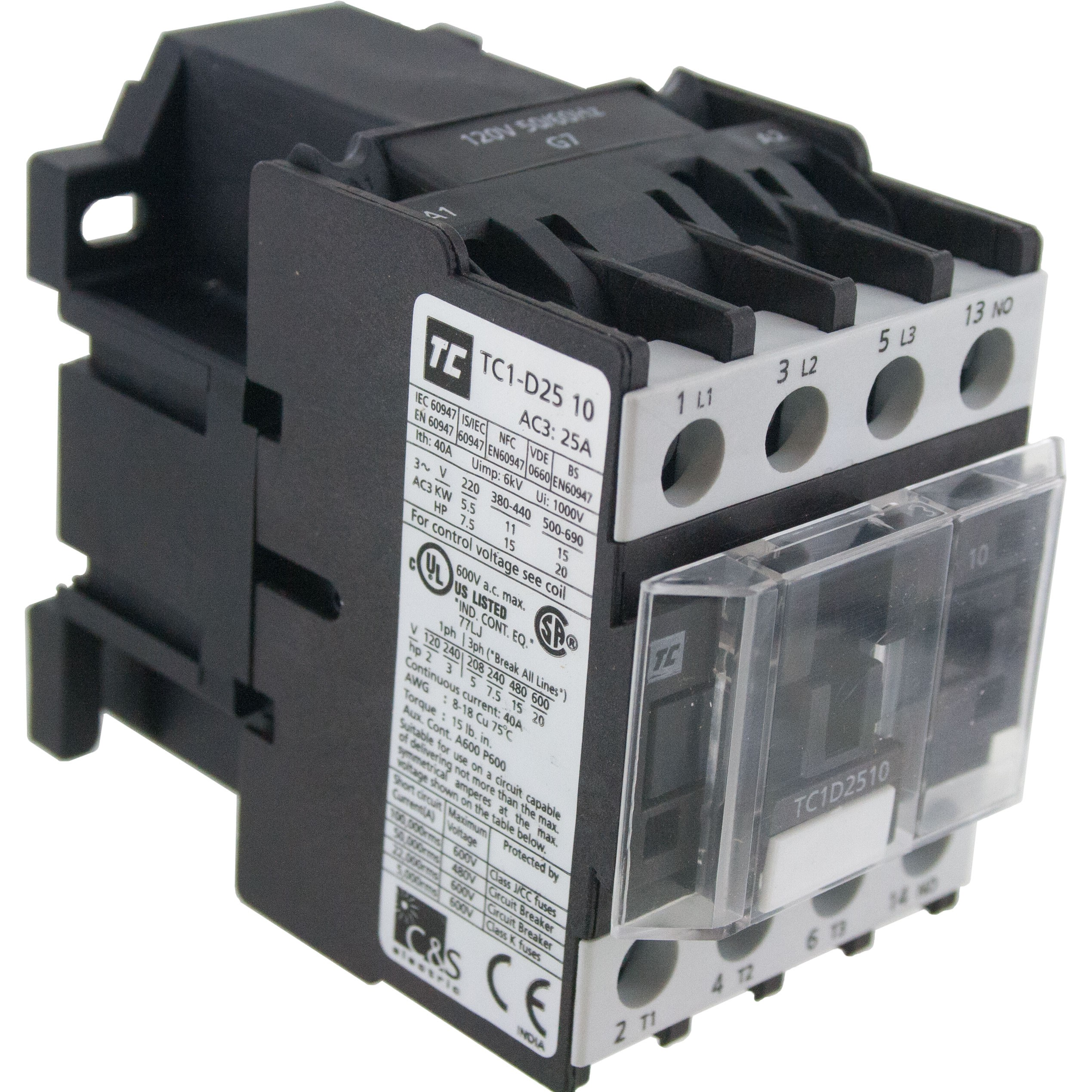 3 Pole Contactor 25 Amp 1 N/O 220 Volt AC Coil Angle