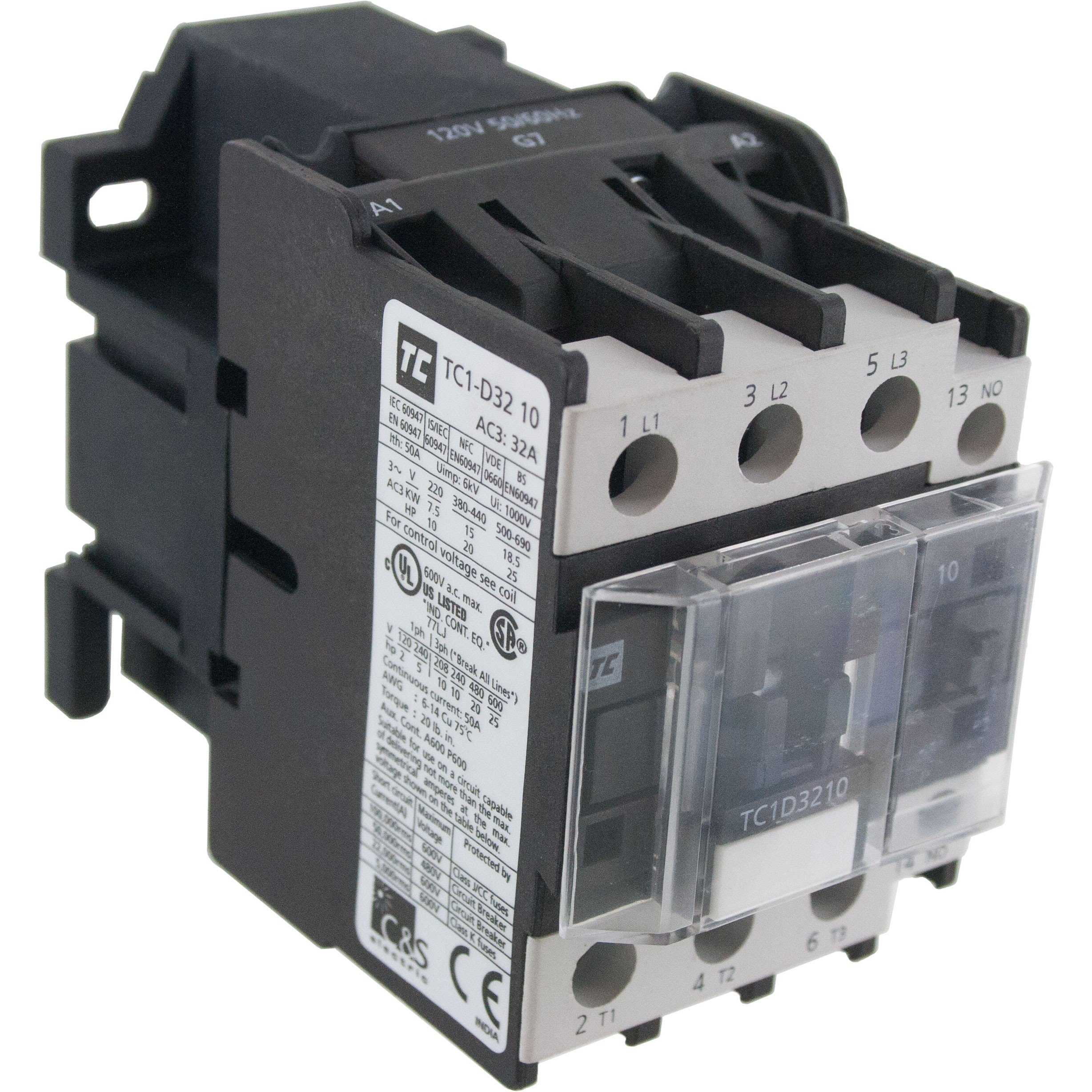 3 Pole Contactor 32 Amp 575 Volt AC Coil Angle