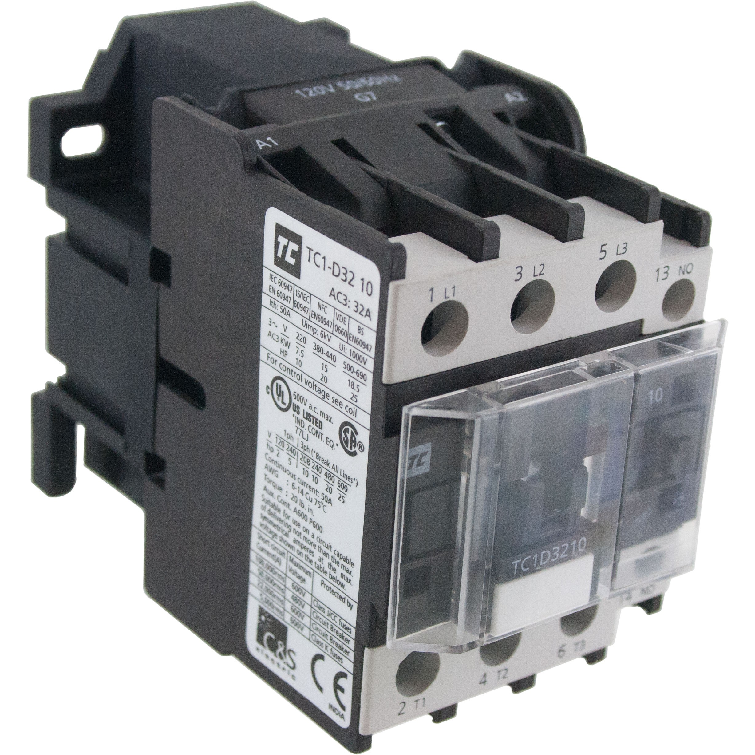 3 Pole Contactor 32 Amp 1 N/O 120 Volt AC Coil Angle