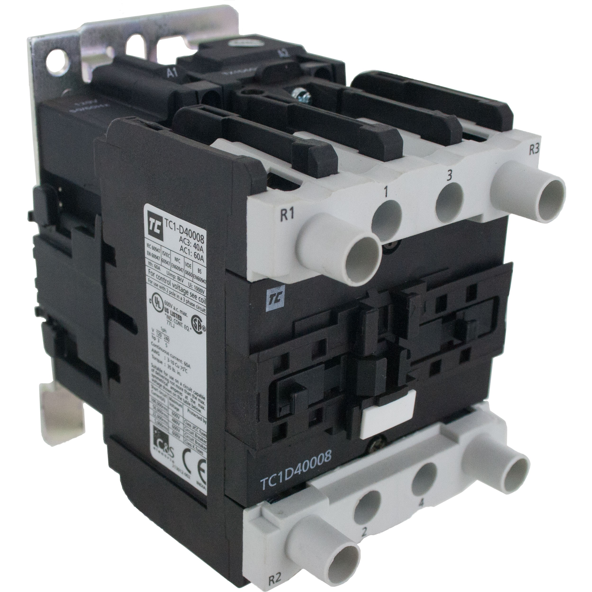 4 Pole Contactor 40 Amp 2 N/O - 2 N/C 24 Volt AC Coil Angle