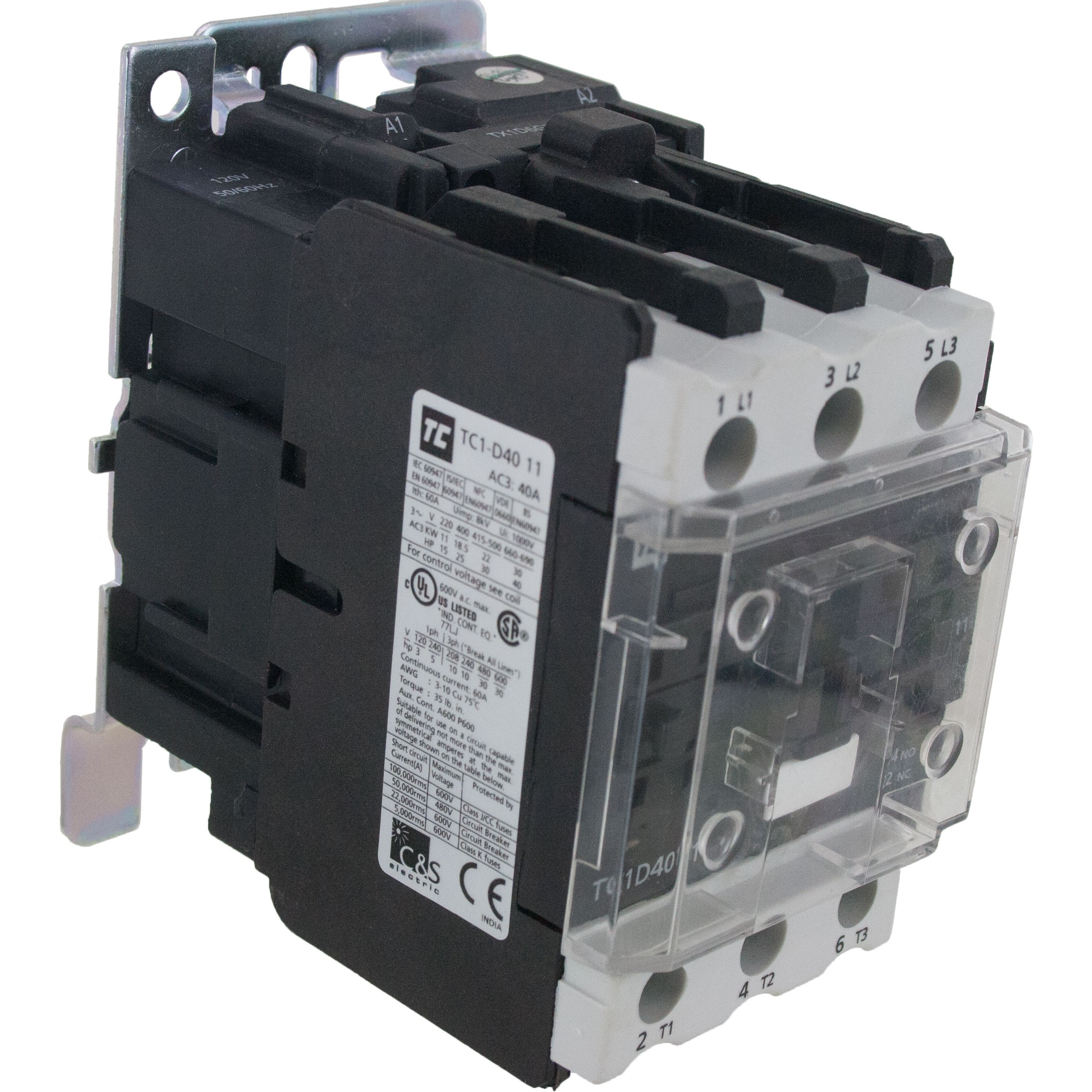 3 Pole Contactor 40 Amp 1 N/O - 1 N/C 575 Volt AC Coil Angle
