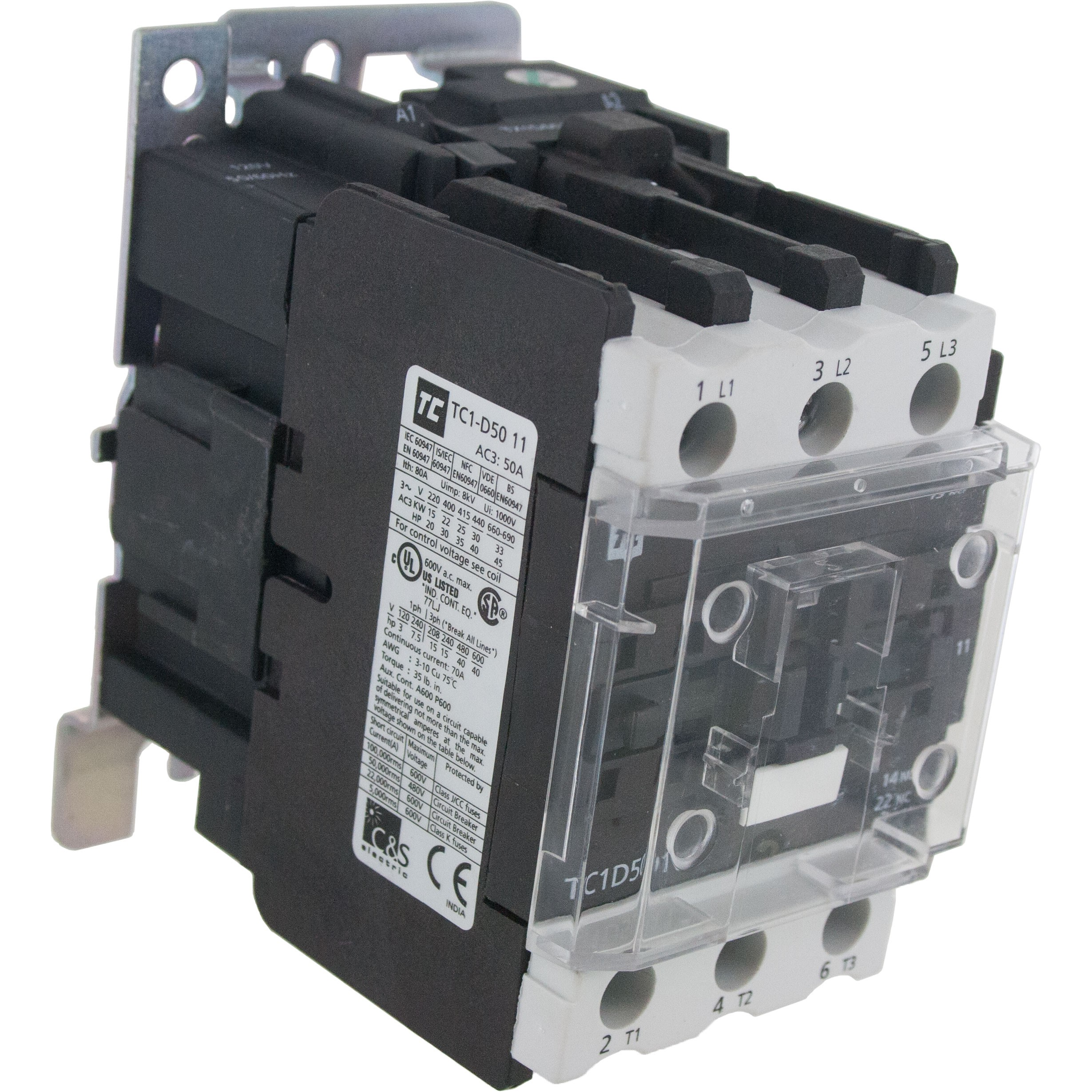3 Pole Contactor 50 Amp 1 N/O - 1 N/C 600 Volt AC Coil Angle