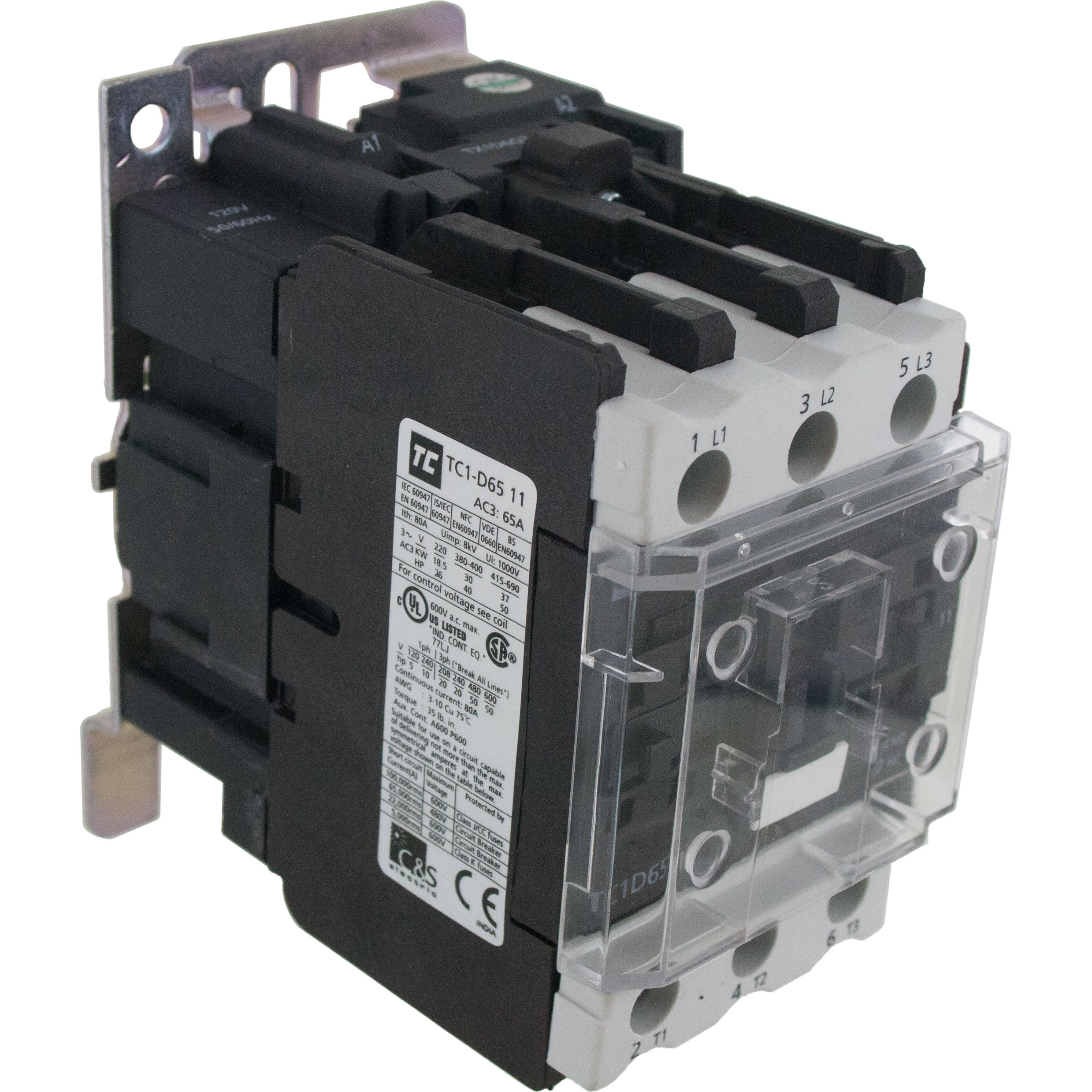 3 Pole Contactor 65 Amp 1 N/O - 1 N/C 220 Volt AC Coil Angle