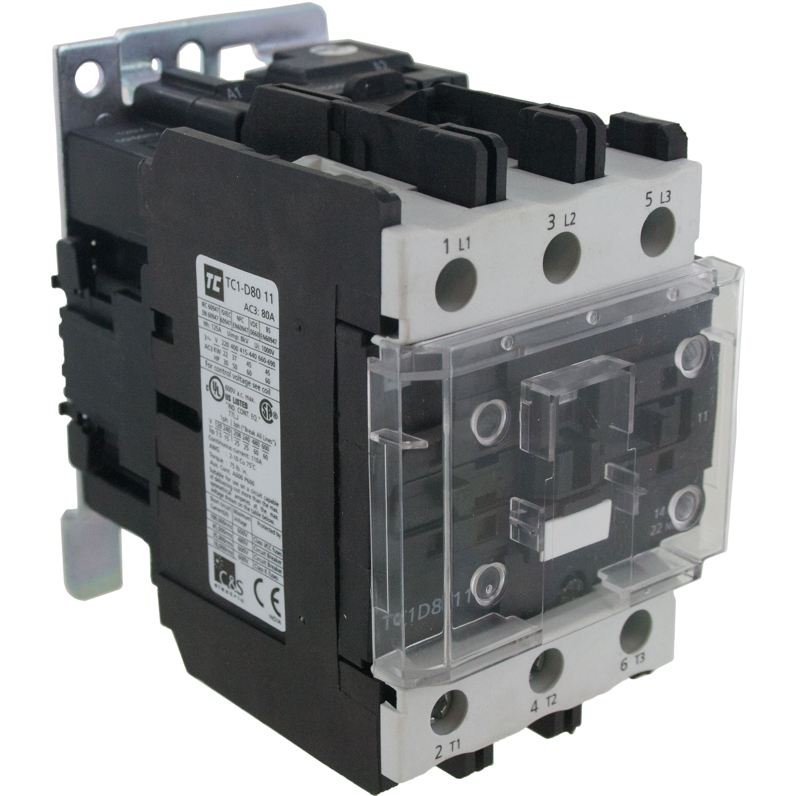 3 Pole Contactor 80 Amp 1 N/O - 1 N/C 575 Volt AC Coil Angle