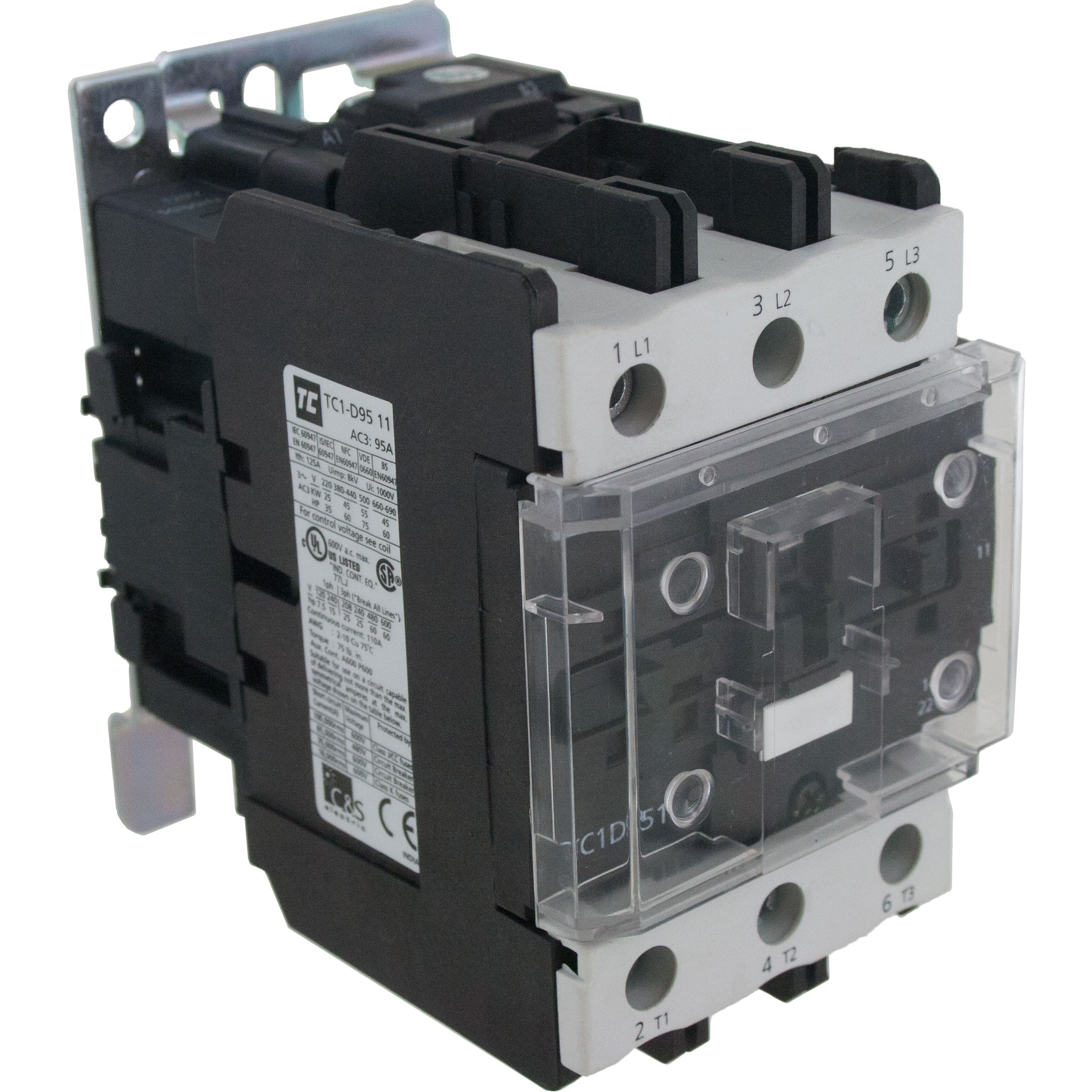 3 Pole Contactor 95 Amp 1 N/O - 1 N/C 120 Volt AC Coil Angle