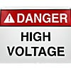 "PLASTIC SAFETY SIGN ""DANGER - HIGH VOLTAGE"" WITH SYMBOL (10""x14"")"