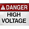 "ACRYLIC ADHESIVE SAFETY SIGN ""DANGER - HIGH VOLTAGE"" (8""x18"")"