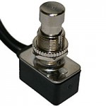 UTILITY SWITCH, SPST N.C. ON-OFF, W/LEADS MOUNTING HOLE: .500""