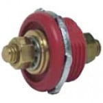 "BATTERY FEEDER STUD, RED, IMPACT RES. PLASTIC, TWO 3/8""-16 THREAD BRASS STUD TERMINALS, 5/8"" LONG"
