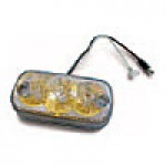 """CLEARANCE/MARKER LAMPS, CLEAR LENS (GOLD REFL.) AMBER SQUARE CORNER,  2"""" X 4"""", 3 DIODES"""