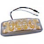 """CLEARANCE/MARKER LAMPS, CLEAR LENS (GOLD REFL.) AMBER RECTANGULAR, 2"""" X 6"""", 4 DIODES"""