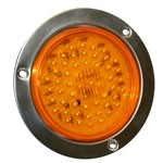 "4"" DIAMETER ROUND, AMBER, TURN/TAIL, 56-DIODES, W/S.S. FLANGE"
