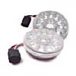 "STOP & TAIL LAMPS, TURN/TAIL, CLEAR LENS AMBER, ROUND 4"", 15 DIODES"