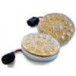 "STOP & TAIL LAMPS, TURN/TAIL, CLEAR LENS (GOLD REFL.) ROUND 4"", 15 DIODES"