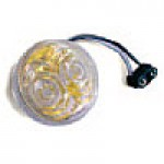 "CLEARANCE/MARKER LAMPS, CLEAR LENS (GOLD REFL.)  AMBER, 2"" ROUND, 2 DIODES"