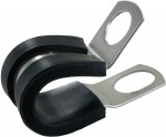 "Rubber Insulated Steel Clamps 1/2""ID .404"" Mounting Hole 10 Pack"