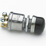 """NORMALLY OFF, 35A@12V, 3 SCREWS, SLIVER CONTACTS, MOUNTING STEM: 5/8""""-32 THREAD, 31/32"""" LONG, RUBBER CAP, PLASTIC BUTTON"""