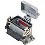 "SURFACE MOUNTING BASE - 10P+Ground  16A MAX - 600V  SINGLE LEVER & COVER  DOUBLE PORT  CABLE GLAND NPT 1/2""x2"