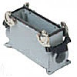 """SURFACE MOUNTING BASE - 24P+Ground  16A MAX - 600V  DOUBLE LEVERS  DOUBLE PORT  HIGH CONSTRUCTION  CABLE GLAND NPT 1""""x2"""