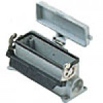 SURFACE MOUNTING BASE - 24P+Ground  16A MAX - 600V  SINGLE LEVER & COVER  DOUBLE PORT  CABLE GLAND PG 21x2 (ILME CHP24LS2)